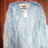 Куртка с длинным волнистым ворсом голубого цвета