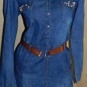 Платье джинсовое с поясом р. 44-46 М