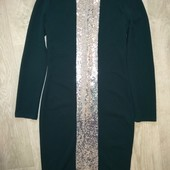 Платье зелёное в паетках 46р