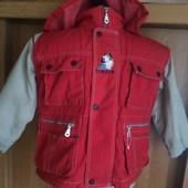 Куртка, жилетка, деми, внутри флис, размер 3 года 100 см, Collection Floriane. Tintin
