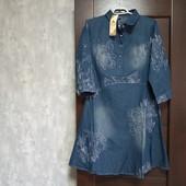 Фирменное новое джинсовое коттоновое платье р.16