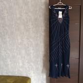 Фирменное новое шифоновое платье расшитое бисером и стеклярусом р.16-18.