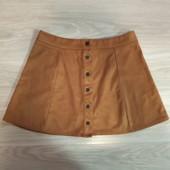 Фирменная красивая юбка из эко-замши в отличном состоянии р.14-16