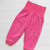 Велюровые штанишки с высокой резинкой для девочки на рост 80-86 см