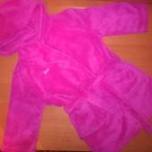 Махровый халат для девочки с капюшоном, на 2-3года, на рост 92-98