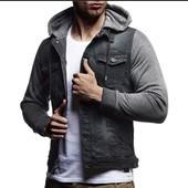 Джинсовый пиджак с трикотажными рукавами и капюшоном.Esmara.