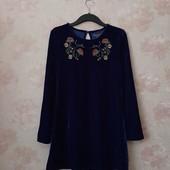Красивое синее велюровое платье с вышивкой ! УП скидка 10%