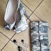 ❤Питон Натуральная кожа туфли на шпильке 36 размер 23,5 см по стельке + клатч в подарок❤ уп15%нп5%