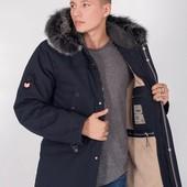 Зимняя мужская куртка ниже пояса коричневый синий хаки меховая подкладка 46-54р