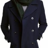 Бомба! Полупальто H&M на пуговицах тёмно-синее теплое 52р евро Оригинал, бирка