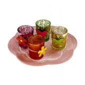 Набор декоративный подсвечников 4 шт на подносе в форме цветка Melinera