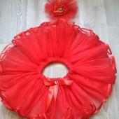 Красное чудо - нарядная юбка ту-ту пачка 1-5 лет + украшение на голову