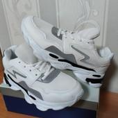 Кроссовки со светоотражающей вставкой белые 36( 22,5)