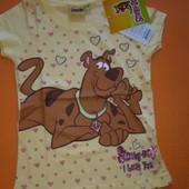Яркая веселая футболка в сердечки Скуби-ду р110р 4 г