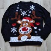Новорічний вязаний джемпер,свитер livergy розм ХЛ євро(56/58)