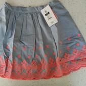 Шикарные юбочки для девочек, лен, размер 128 и 134