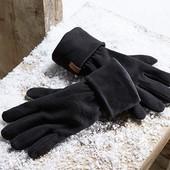 Теплые черные флисовые перчатки с антипилинговым покрытием tchibo германия размер 7,5