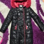 Очень теплая зимняя куртка пуховик в отличном состоянии р. 44-46 нюанс поменять молнию