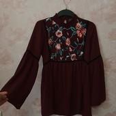 Красивая бордовая блуза с вышивкой ! УП скидка 10%