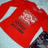 Очаровательная новая блузочка с кружевом и блёстками,на девочку 6-8 лет