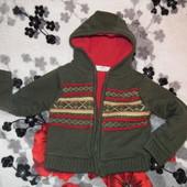 Теплый нарядный свитшот и вельветовые штанишки, кофта на замочке на флисе с норвежским рисунком и те