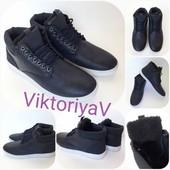 Стильные Тёплые ботинки на меху размер 40-26см! Синие и чёрные, одни на выбор!