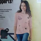 Комплект 2 шт регланы лонгсливы с рукавом 3/4 на девочку Pepperts Германия 134/140