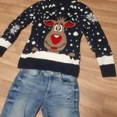 шерстяной тёплый веселый свитер Турция