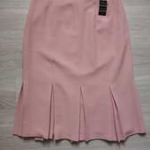 Фирменная новая красивая шерстяная юбка цвета пудры с нижними складами р.12-14