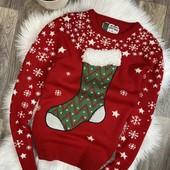 Красивый новогодний тёплый вязаный свитер
