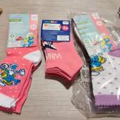 Германия!!! Красивые носки для девочки! 8 пар: 5 шт высоких и 3 шт укороченных! 23-26 размер!