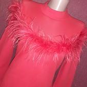 Шикарное платье с страусиными перьями сетка очень багатое