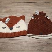 Англия! Next! Вязаные шапки для малышей, 2 шт в лоте, размер 3-6 м.