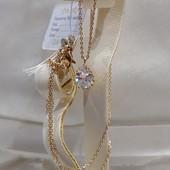 шикарный и нежный набор цепь+кулон с кристаллом Swarovski, позолота 585 пробы