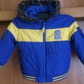 куртка, деми, внутри флис, р 1-1,5 года 83 см, M&S. состояние отличное