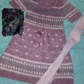 Обалденное вязанное платье+колготки в подарок!на девочку 9-11 лет
