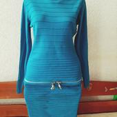 Стильное тёплое фактурное платье М, новое! Турция