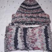Комплект шапка+шарф крупная вязка смотрите замеры