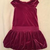 Малиновое нарядное велюровое платье 4-5 лет