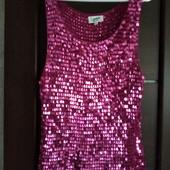 Фирменная красивая блуза в пайетках в отличном состоянии р.16-22