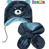 lupilu.комплект велюровая шапочка с ушками на флисовой подкладке +шарфик 62/68