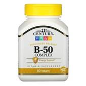 Комплекс витамина В, B-50 Complex, замедленное высвобождение, 60 таблеток, Америка