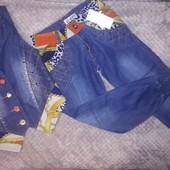 Джинсовый нарядный костюм для девочки,на рост 122-128