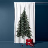 ☘ Шикарна новорічна штора з принтом ялинки від Tchibo (Німеччина), розмір: 230 х 140