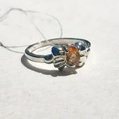 Серебряное кольцо бант с цитрином, арт. 471/21