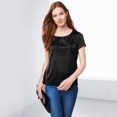 Шелковистая блуза с коротким рукавом от tchibo(германия), размеры наши: 42-44