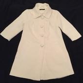 Белое пальто, ткань набивной узор , лёгкое, демисезон