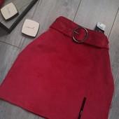 Бомбическая юбка с поясом вельвет рубчик