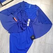 Багатое платье стразы валаны спинка как накидка нереально крутое ярко синее
