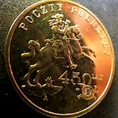 #10монета Польша, юбилейная, 2 злотых, 2008, 450 лет польской почтовой службе